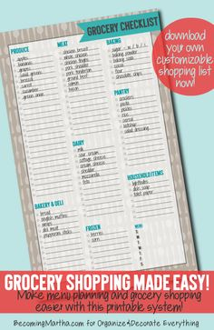 free Grocery Shopping Checklist from Becoming Martha