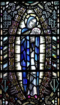 https://flic.kr/p/uU45N8 | Stained Glass Mary Mandorla Troon Ayrshire | A Gordon Webster window. Troon old parish church. Ayrshire. Scotland. www.rdwglass.com