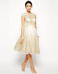 Short Wedding Dress option - Chi Chi London Premium Metallic Lace Midi Prom Dress with Bardot Neck
