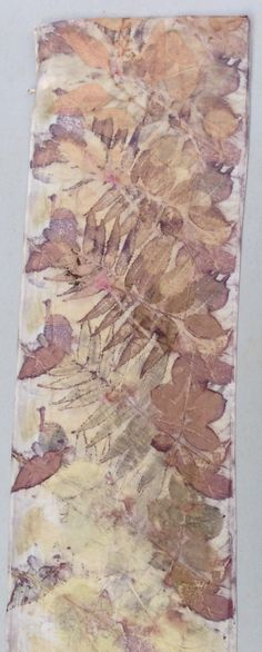 Sumac and rose leaves, eco print on silk, by Diane Gamm. Adventures in Eco Printing Blog: https://gammdesign.wordpress.com/