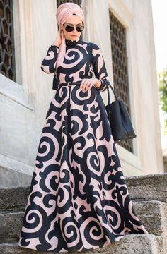 Muslima Wear Empirme Elbise 35007 Pudra