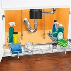 Kitchen Cabinet Storage Solutions: DIY Pot and Pan Pullout Under Sink Drawer, Under Cabinet Drawers, Under Sink Storage, Pull Out Drawers, Extra Storage, Easy Storage, Storage Ideas, Kitchen Sink Storage, Cheap Kitchen Cabinets