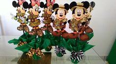 Centro de mesa Mickey e Minnie safari