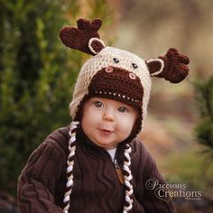 Baby Moose Beanie Hat 36 MonthsEarflapped with Braid by AvaLoos, $22.00 - Look at his face!!