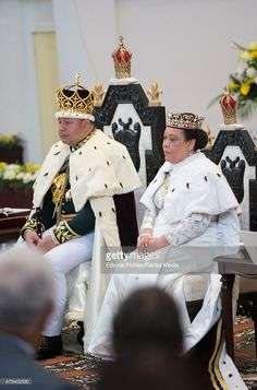 King Tupou VI of Tonga and Queen Nanasipau'u sit on their throne during the official coronation ceremony at the Free Wesleyan Church on July 4, 2015 in Nuku'alofa, Tonga. Tupou VI succeeds his brother, King Tupou V, who passed away in 2012. (Photo by Edwina Pickles/Fairfax Media/Getty Images)