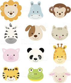 Animal Faces Set royalty-free animal faces set stok vektör sanatı & animasyon karakter'nin daha fazla görseli Quilt Baby, Felt Animals, Cute Baby Animals, Cute Animal Illustration, Animal Illustrations, Vector Illustrations, Diy Bebe, Animal Faces, Animals Images