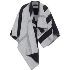Burberry London England Wool and Cashmere Poncho ($1,585) ❤ liked on Polyvore featuring outerwear, jackets, coats, burberry, cape, grey, wool poncho, grey cape, woolen cape and burberry cape