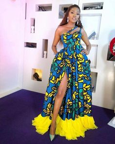 Ankara gowns are beautiful and we've got more than enough ankara long gown styles you'll love in this post. African Party Dresses, African Print Dresses, African Dresses For Women, African Attire, African Prints, African Wear, African Women, African Fashion Ankara, Latest African Fashion Dresses