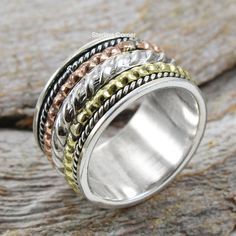 Labradorite Ring Spinner Ring for Gift Unisex Band Meditation Mens Ring Anxiety Ring Bridesmaid Ring For Women 925 Sterling Silver