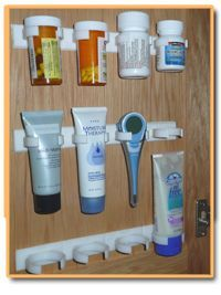 Use Spice Clips for organizing small items such as prescriptions, bathroom supplies, craft supplies, fishing supplies... the possibilities are endless!: