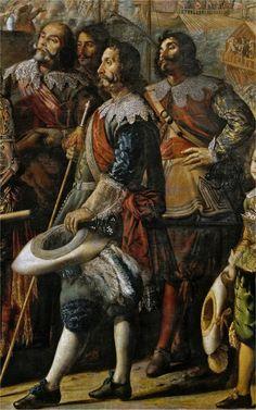 El socorro de Génova por el marqués de Santa Cruz (detalle) Conmemora una de las primeras victorias de Felipe IV. En 1625 la república de Génova, tradicionalmente aliada de España, fue ocupada por las tropas francesas del duque de Saboya. La escuadra española, comandada por el general don Álvaro de Bazán, liberó la plaza y devolvió a Génova su soberanía. Vemos la vestimenta de un oficial: sombrero emplumado, espada y cruz de una orden militar en el pecho