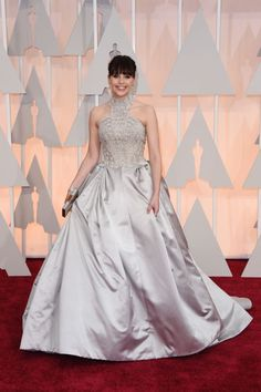 Felicity Jones in Alexander McQueen at the 87th Annual Academy Awards, 2015.
