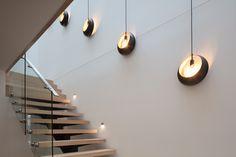 MINT Lighting Design - Stair Lighting – Pendant Lighting – Timber Stairs – Stairwell Lighting – Melbourne Australian Homes Unique Lighting, Lighting Design, Track Lighting, Stair Lighting, Pendant Lighting, Melbourne, Stainless Steel Handrail, Glass Balustrade