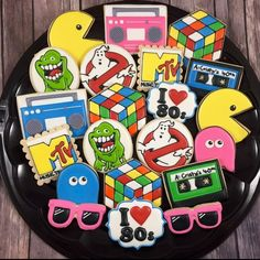 """Whoo's Bakery? on Instagram: """"Yep! I'm an 80's baby! #houstoncookies #neworleanscookies #backtothe80s #ghostbusterscookies #pacmancookies #boomboxcookies…"""" Iced Cookies, Fun Cookies, Cupcake Cookies, Sugar Cookies, Retro Party, 80s Party, Party Time, 80s Birthday Parties, 40th Birthday Decorations"""