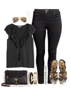 Plus Size Black Skinnies Outfit - Plus Size Outfit Idea - Plus Size Fashion - Alexawebb.com #alexawebb
