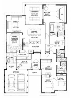 4 5 Bedroom House Plans Luxury Floor Plan Friday 4 Bedroom 3 Bathroom Home Bedroom House Plans, Dream House Plans, House Floor Plans, My Dream Home, Dream Homes, Bungalow Floor Plans, Unique House Plans, Floor Plan 4 Bedroom, Bungalow House Design