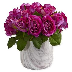 The Artificial Rose Arrangement from Nearly Natural embellishes your home or office decor with carefree, nature-inspired beauty. Lovely, life-like blossoms sit among wispy, delicate foliage in a marble-finished vase for a stunning display. Silk Floral Arrangements, Artificial Flower Arrangements, Artificial Plants, Artificial Marble, Floral Bouquets, Faux Flowers, Colorful Flowers, Beautiful Flowers, Paper Flowers