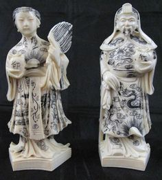 "Pair carved Ivory?/Bone Carved Asian Figurines - Ink Decorated (Approx. 4""H)"