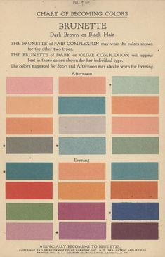 Chart of Becoming Colors, Brunette, Taylor System of Color Harmony, Inc. Colour Pallete, Colour Schemes, Color Patterns, Color Palettes, Retro Color Palette, Wes Anderson Color Palette, Paint Palettes, Colores Art Deco, Gran Hotel Budapest