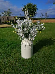 Milk churn overflowing with silk flowers and foliage to hire for your wedding day. 90cm tall, it creates a lovely natural feel to an entranceway, table or bar area. £10 to hire. Lots more wedding props to hire for your wedding day from www.limelightweddings.co.uk Wedding Props, Wedding Hire, Wedding Decorations, Wedding Day, Manzanita Tree Centerpieces, Milk Churn, Led Tree, Wedding Place Settings, Wedding Calligraphy