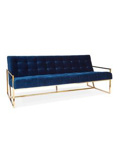 "Mid-century modern sofa. Polished stainless steel frame with brass finish. Cotton velvet upholstery. Tight seat and back cushions. 68""W x 32""D x 27.5""T; seat, 15.75""T. Imported. Boxed weight, approxim"