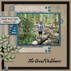 The Great Outdoors - Scrapbook.com #scrapbooklayouts #scrapbooking101