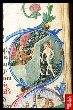 Detail of a miniature of the Expulsion.   Origin:Germany, S. (Regensburg)