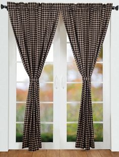 "Our Bingham Star Plaid Lined Panel Curtains 84"" are a lovely black, red, and tan plaid.  We have matching bedding or kitchen accessories that are sold separately!  http://www.primitivestarquiltshop.com/Bingham-Star-Plaid-Lined-Panel-Curtains-84_p_4112.html"