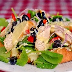 Chicken and Spinach Pizza Salad with Lemon Dijon Dressing - Rock Recipes - Rock Recipes