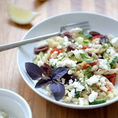 Greek Pasta Salad with a lemony twist  #foodgawker