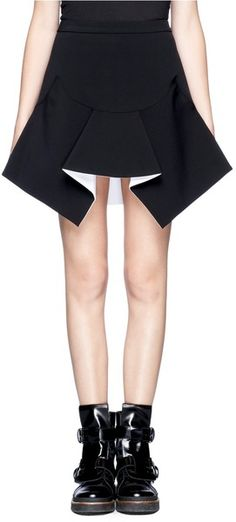 Structured skirt with angular cut, crisp folds & contrasting lining - fashion design detail; sewing; fabric manipulation // Givenchy