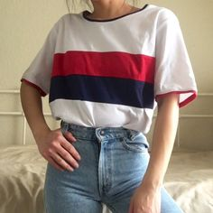 303d5ed6 Retro striped shirt by D&D Lifestyle. White with red and on - Depop Stripes  Fashion