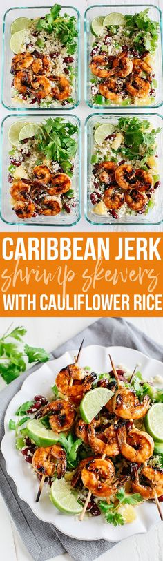 This Caribbean Jerk Shrimp with Cauliflower Rice is super flavorful, deliciously filling and perfect for weekly meal prep!