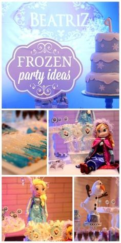 A Frozen girl birthday party with Anna, Elsa and Olaf and snowflake decorations! See more party ideas at CatchMyParty.com! by ruthie