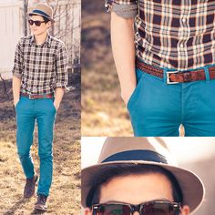 Johnston & Murphy Desert Boots, Indochino Brown Plaid, Forever 21 Hat, Rx Wayfarer Sunny Gs, Cole Haan Leather Belt