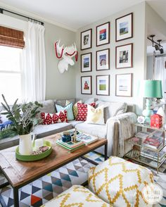 Living Room + Gallery Wall // 2014 Holiday Home Tour Inspired by Charm www.inspiredbycharm.com