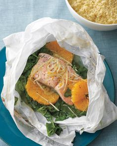 Salmon and Spinach in Parchment - Martha Stewart Recipes
