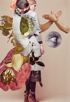 An artistic collaboration with stylist Kathi Kauder and photographer Sabrina Theissen. For these mixed media collages Ashkan Honarvar used Vanitas symbols in a search for the equilibrium between life and death. The woman depicted features different animal eyes, flowers and other body parts. These collage series was published in I Love You Magazine