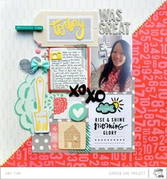 Idea for intro page. Amy tan - layered grid layout - all about me theme. Disney Scrapbook, Scrapbook Paper Crafts, Scrapbook Albums, Scrapbook Cards, Scrapbook Designs, Scrapbook Sketches, Scrapbook Page Layouts, Scrapbooking Ideas, Amy Tangerine