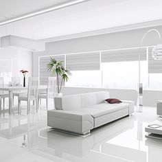 Create the ultimate modern interior with the outstanding Kronotex Gloss White La. Living Room White, White Rooms, Home Interior, Interior Design Living Room, Living Room Designs, Living Room Decor, Modern Interior, Interior Ideas, Living Rooms