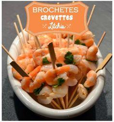 Brochettes de crevettes et litchis - Envie d'apéro