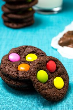 Chewy Chocolate MM Cookies | These are super chewy bursting with chocolate. | giverecipe.com | #chocolatecookies