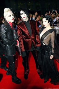 Well, everyone, here they are. Three of the sexiest people on the planet. Tim Skold, Marilyn Manson, and Dita Von Teese. My ovaries have exploded. Elizabeth is dead.