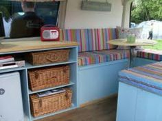 """Caravan interior storage ideas. Toby says looks old fashioned """"so last century"""" would be OK if modernised."""