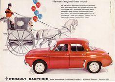 1959 ad Renault Dauphine red car vintage auto advert