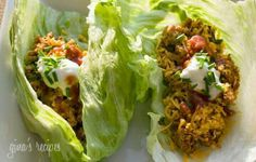 Turkey Taco Lettuce Wraps  Ingredients:  1.3 lbs 99% lean ground turkey  1 tsp garlic powder  1 tsp cumin  1 tsp salt  1 tsp chili powder  1 tsp paprika  1/2 tsp oregano  1/2 small onion, minced  2 tbsp bell pepper, minced  3/4 cup water  4 oz can tomato sauce  8 large lettuce leaves from Romaine lettuce   Directions: Brown turkey in a large skillet. When no longer pink add dry seasoning and mix well. Add onion, pepper, water and tomato sauce and cover. Simmer on low for about 20 minutes…
