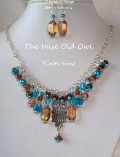 The Wise Old Owl beaded necklace & earring set by PirateSwag, £11.50