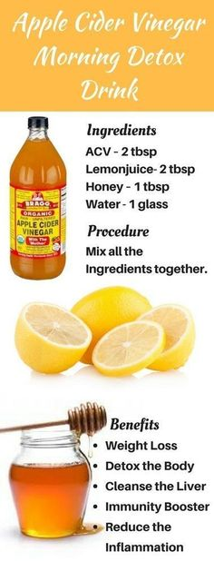 Apple Cider Vinegar Morning Detox Drink #detoxdiets7day #DetoxDrinksMorning