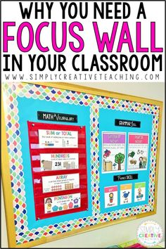Learn why having a classroom focus wall is the perfect student reference display. Teachers can design a math, writing, or Ela focus wall bulletin board for free. Add learning objectives, I Can statements, weekly headers, vocabulary words, sight words, and anchor charts to display weekly or monthly Common Core content. Perfect for any kindergarten, 1st, 2nd, 3rd, 4th, or 5th grade classroom.