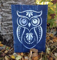 navy owl sign by UrbanRevivalDecor on Etsy, $28.00